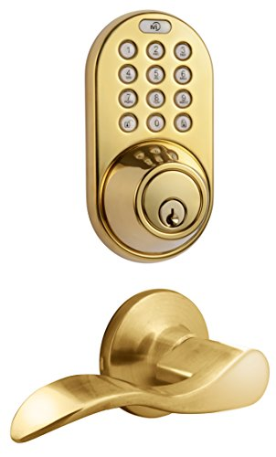 - MiLocks DFL-02P Electronic Touchpad Entry Keyless Deadbolt and Passage Lever Combo, Polished Brass