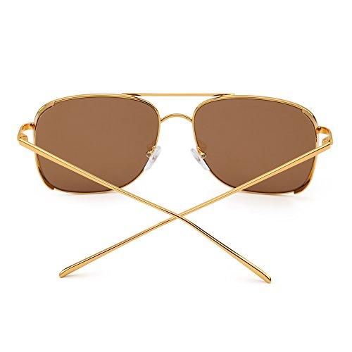 Mujer Plano Gafas Hombre Conducir sol Dorado Anteojos Cuadrado Steampunk Aviador de Marrón de Espejo qXnXPF1vwr