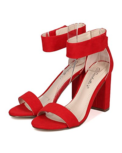 Breckelles Women Block Heel Sandal - Dressy, Formal, Versatile - Ankle Strap Chunky Heel - GH04 by Red