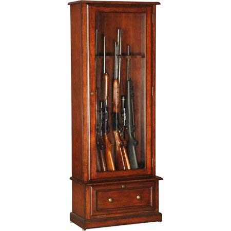 Stack On Gun Cabinet - Burnish Brown Cherry Wood Tempered Glass Door with Lower Compartment Holds Up to 8 Guns - Safekeeping Your Guns in Style
