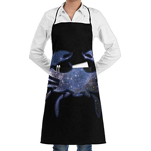 TanJieis Unisex Chef's Aprons Deluxe Cancer Zodiac Star Professional Grade Chef Apron for Kitchen BBQ Adjustable Comfortable Standard Size ()