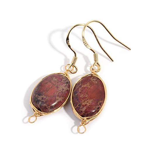 - Scutum Craft Natural Stone Wire Wrap Dangle Drop Earrings Gold Plated 925 Sterling Silver Hook Jewelry for Women, (Impression Jasper Purple)