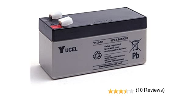 Batería Yucel Y1.2-12 1,2Ah 12V (97mm*43mm*52mm) Para Alarma, SAI´s (UPS), luces de emergencia...: Amazon.es: Coche y moto