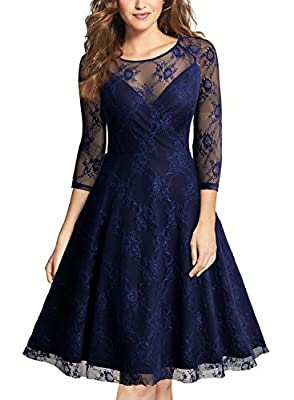 MISSMAY Women's Vintage Floral Lace Cocktail Party V-Neck Pleated Swing Dress
