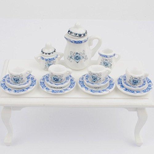 NW 1 Set 15 pieces Blue and White Porcelain Ceramics Tea Cup Set Lovely Dollhouse Decoration Set Dollhouse Kitchen (Miniature Ceramic Tea Set)