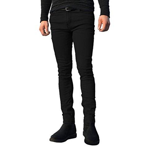 Pantalones hombre disponibles Negro de para tamaños todos recta pernera elásticos ajustados vaqueros los algodón cintura de qrEw6r
