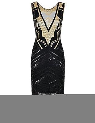 PrettyGuide Women's 1920s Great Gatsby Dress Sequin Cocktail Flapper Dress