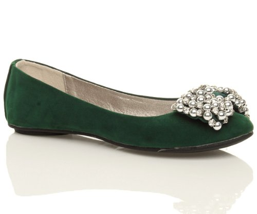 Ajvani jewel size bow shoes loafers Green ladies pumps Suede slip flat slippers on diamante Womens rUrHA