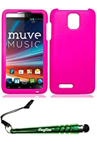 ZTE N8000 Engage LT Rubber Hot Pink Case Cover Protector Include FoxyCase Stylus cas couverture