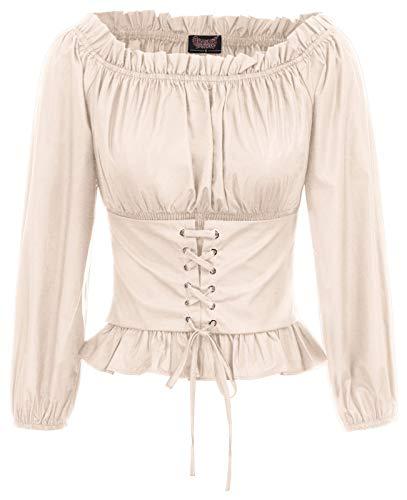 As Darkness Falls Halloween (Renaissance Peasant Blouse Ruffle Pirate Boho Tops Shirts XL)