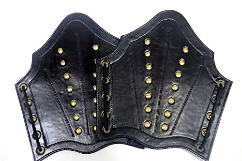 Armor Faux Leather Arm Guards - Medieval Bracers - Black - One Size Fit Most -