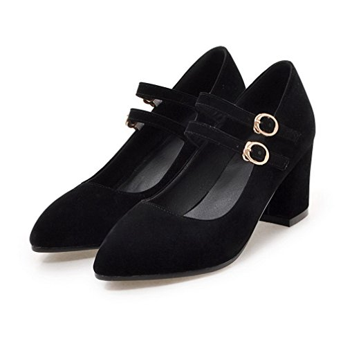 VogueZone009 Women's Frosted Kitten-Heels Pointed-Toe Solid Buckle Pumps-Shoes Black F6J5CEuK