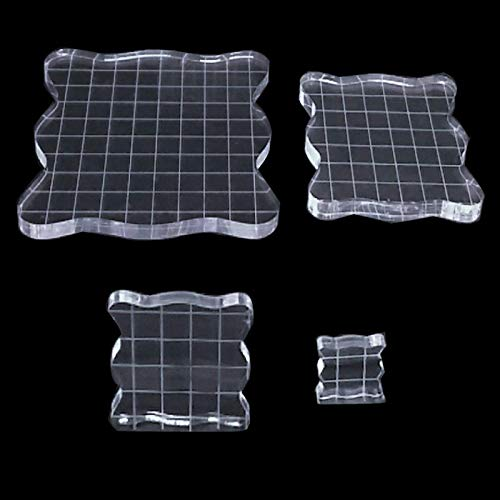 4Pcs Acrylic Stamp Blocks with Grid and Grip and 1 Sheet Clear Silicone Seal Stamps, Clear Stamping Block for Cards Making Scrapbooking DIY Crafts Ornaments, 4 Sizes