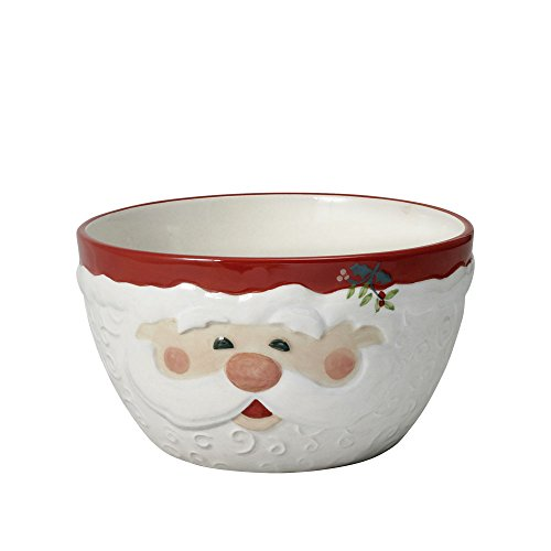 Pfaltzgraff Winterberry Jolly Santa Sculpted Bowl, 33-Ounce (Serving Christmas Dishes)