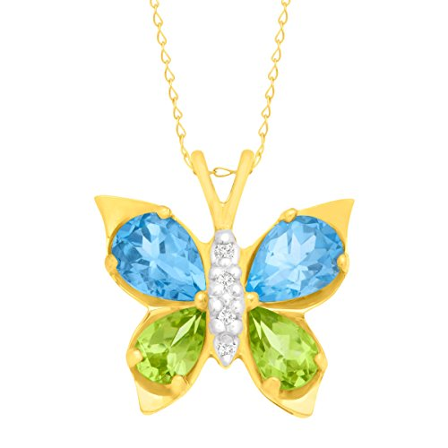 2 1/2 ct Topaz & Peridot Butterfly Pendant Necklace with Diamonds in 10K ()