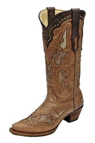 CORRAL Women's A2964 Ostrich Leg Inlay Brown Western Boots 6 M