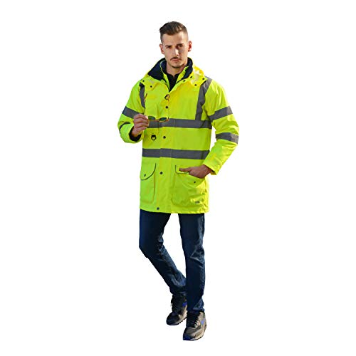 Holulo Waterproof 7-in-1 Reflective Class 3 Safety Parka Jacket with Zipper and Pockets Size XL by Holulo (Image #3)