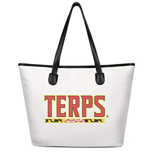 Women's Maryland-Terps- Canvas Purses Large Capacity Bag Foldable Travel Totes Bag Creamy-White
