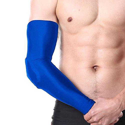 Ellbogenschutz Sulida Crash-Schutzbogen Sportschutzausrüstung für Tennis-Badminton Radfahren Taekwondo Basketball und so weiter (1 Paar/L/42 CM ) Blue