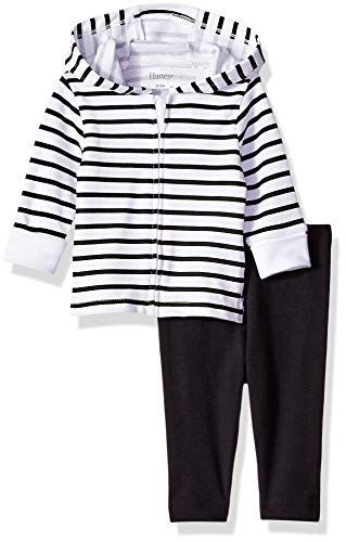 Hanes Ultimate Baby Flexy 2 Piece Set (Pant with Zippin Knit Hoodie), Black Stripe, 18-24 Months ()