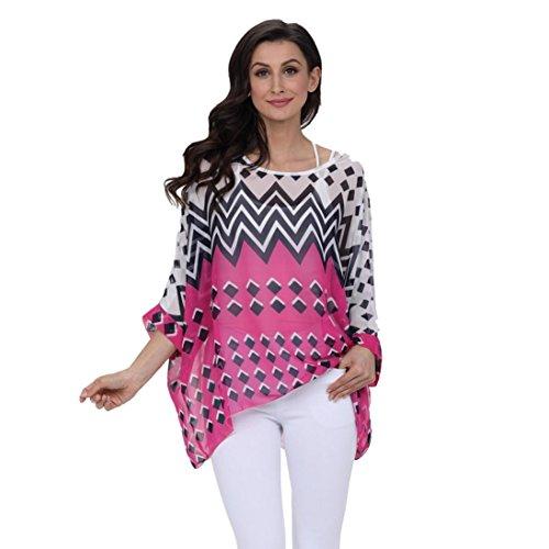 - Highpot Womens Floral Chiffon Caftan Poncho Tunic Top Bikini Swimsuit Cover up (Hot Pink)