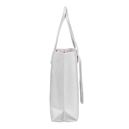 Capacity Handbag Leather Women Shopping Widewing Pure Simple Sling Big Tassel Grey Totes w7zEqpXqS
