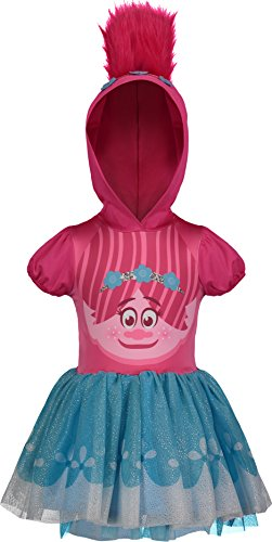 Trolls Poppy Toddler Girls' Costume Dress with Hood and Fur Hair, Pink and Blue, 4T -