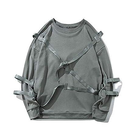 WSDMY Rubans Pull Sweats /À Capuche Streetwear Hommes////Punk Rock Solide Couleur Tops Hipster Mode Casual Sweat /À Capuche