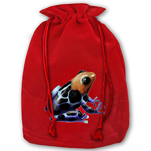 (Watercress Jam Stylish Drawstring Red Santa Sack Poison Dart Frog Package Party Favor Bags for X-mas-13.8