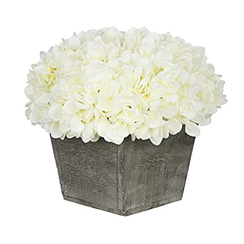 White flower arrangement amazon house of silk flowers artificial hydrangea in grey washed wood cube white mightylinksfo