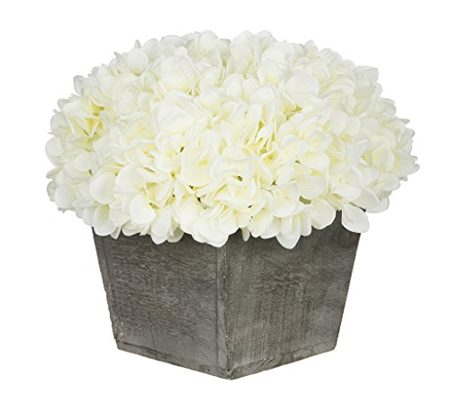 House of Silk Flowers Artificial Hydrangea in Grey-Washed Wood Cube (White)