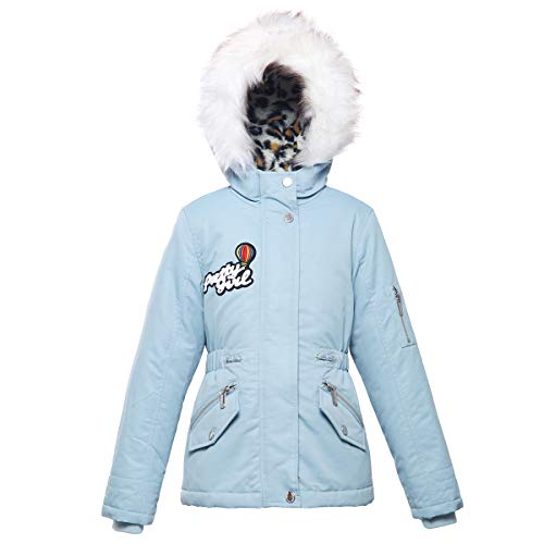 - Rokka&Rolla Girls' Water-Resistant Lined Hooded Thickened Parka Puffer Jacket with Faux-Fur Hood Trim