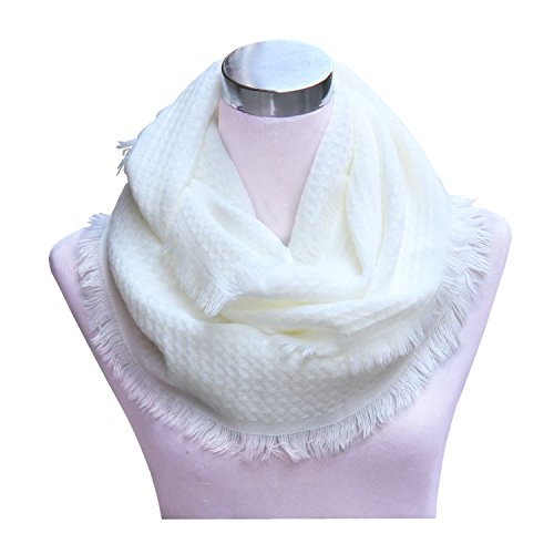 Lucky Leaf Women Cozy Knitted Winter Infinity Scarf With Fringe Pure Color(White)