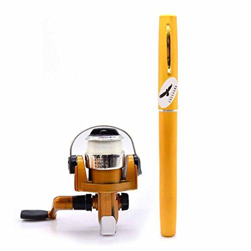 Freehawk Mini Carbon Fiber Telescopic Pen Fishing Rod Pocket Pen Fishing Pole Pocket Travel Fishing Rod Sea Fishing Rods + 2000 Aluminum Spinning Fishing Reel + Fishing Line (Gold)