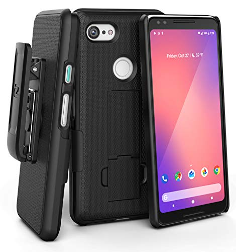 Encased DuraClip Pixel 3 Belt Clip Case, Slim Fit Holster Shell Combo (Rubberized Grip) Smooth Black