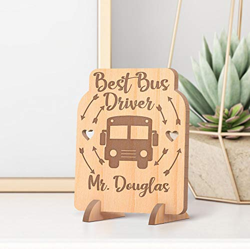 (Personalized Best Bus Driver Wooden Gift Card feat Arrows & Hearts)