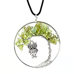 Natural Green Creastly Tree Pendant Necklace - Owl