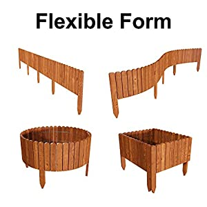 Floranica® Spiked Log Roll Border as Easy Plug-in Fence, Palisade, 203 cm long (can be shortened) as Wooden Edging for…