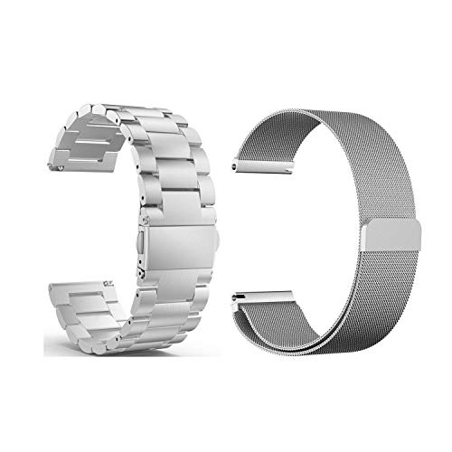Compatible Samsung Galaxy Watch(46mm) Bands, 22mm Stainless Steel Band + Milanese Loop Mesh Replacement Bracelet Metal Strap Compatible Samsung Galaxy Watch 46mm