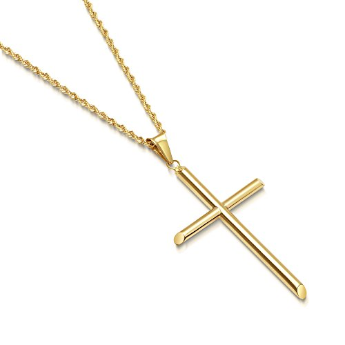 Solid 14K Gold Cross Pendant Italian Rope Chain Necklace - Large - 22
