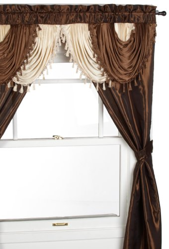 Attached Valance - Regal Home Collections Amore 54-Inch by 84-Inch Window Set with Attached Valance, Brown