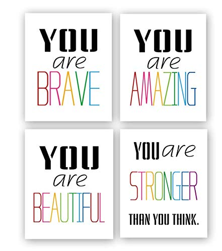 """HPNIUB Typography Watercolor Words Inspirational Quote&Saying Modern Art Print Set of 4 (12""""X16"""" Canvas Painting,Motivational Phrases Wall Art Poster for Nursery or Kids Room Home Decor,No Frame"""