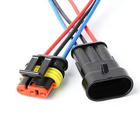 Camiones YETOR Conector de Cable Enchufe Impermeable,Conector Macho de 3 Pines Conectores el/éctricos con Cable 16 AWG Marine para Conexiones de autom/óviles 5pack Barcos y Otros Cables.
