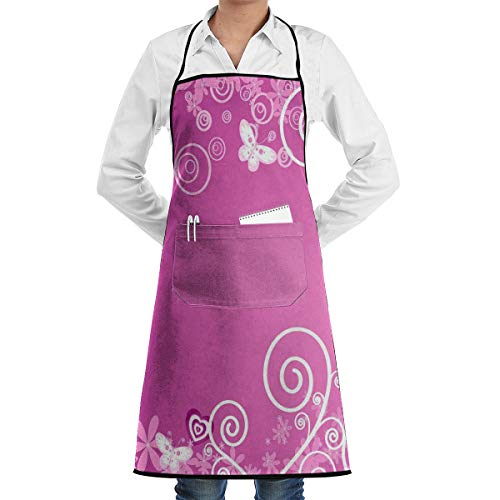 NRIEG Purple Love Romantic Faction Unisex Kitchen Cooking Garden Apron£¬Convenient Adjustable Sewing Pocket Waterproof Chef Aprons