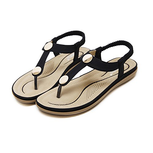 MILIMIEYIK Women's Flip Flop Slippers, Women Bohemian Thong Sandal T-Strap Elastic Back Beach Flops Sandals Peep-Toe Shoes -