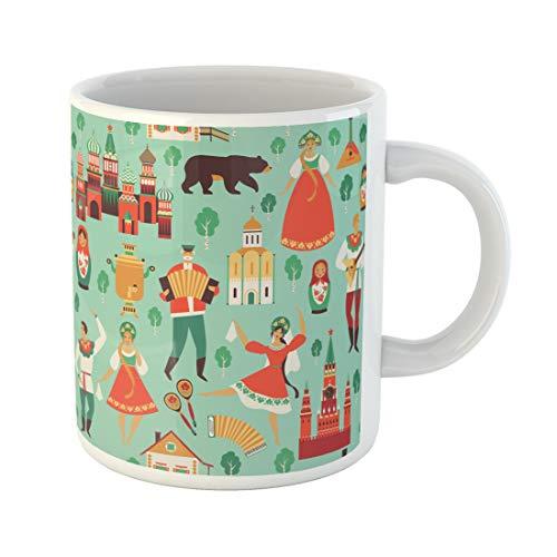 Semtomn Funny Coffee Mug Dancer Russian Sights and Folk Flat Pattern Russia Accordion 11 Oz Ceramic Coffee Mugs Tea Cup Best Gift Or Souvenir ()