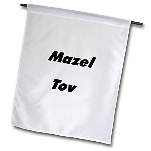3dRose Lens Art by Florene - Jewish Humor and Sayings - Image of Large Size Words Mazel Tov - 12 x 18 inch Garden Flag (fl_307332_1)