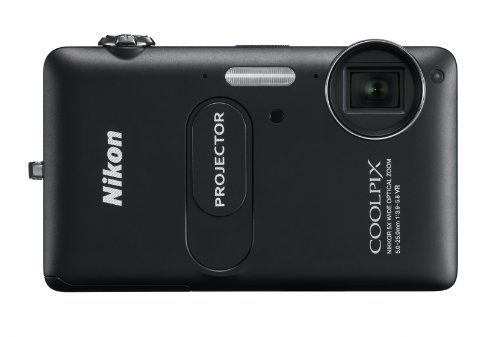 NIKON - Coolpix S1200pj Black 14.1-Megapixel Zoom Digital Camera with Built-In Projector by Nikon
