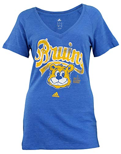 adidas UCLA Bruins NCAA Womens Triblend Mascot V-Neck Tee, Heathered Blue (X-Large)
