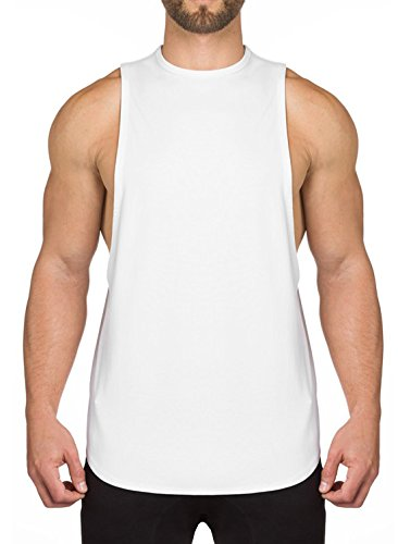 Ouber Men's Cotton Muscle Gym Fitness Workout Tank Top White,M from Ouber